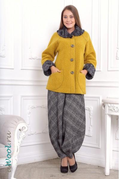 куртка А силуэта из 100% итальянской валяной шерсти