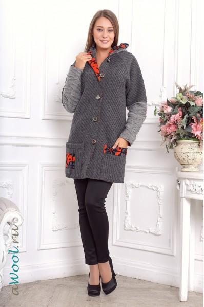 пальто серое из итальянской валяной шерсти N4A | awool.ru