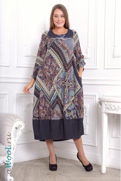 платье Юла клеш, синее, из итальянской шерстяной ткани L1D | awool