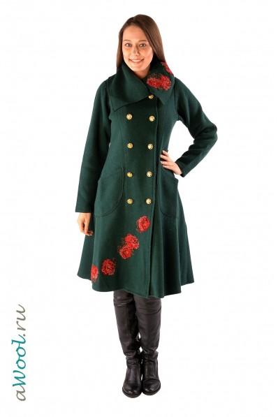 пальто двубортное с аппликацией P6A